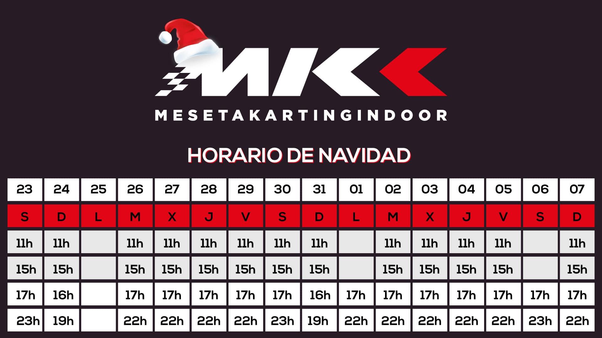 HORARIO NAVIDAD 17 Meseta Karting